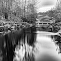 Crystal Bridges River View In Black And White - Bentonville Arkansas by Gregory Ballos