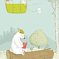 Cute Bears And Rabbits Whimsical Art For Kids by Matthias Hauser