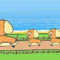 Cute Cartoon Dogs On Skateboards By The Beach by Barefoot Bodeez Art
