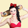 Cute Pinup Skater Girl In Punk Glam Fashion by Jorgo Photography - Wall Art Gallery