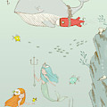 Cute Whale And Mermaids Whimsical Art For Kids by Matthias Hauser