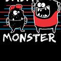 Dada Monster Cute Monster Cartoon For Kids And Dad Dark by Nikita Goel