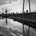 Dallas Skyline And Margaret Hunt Hill Bridge Reflections - Monochrome Edition by Gregory Ballos