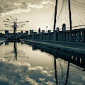 Dallas Skyline And Margaret Hunt Hill Bridge Reflections - Sepia Edition by Gregory Ballos