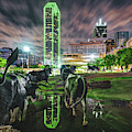 Dallas Skyline And Texas Longhorn Cattle Drive Sculptures by Gregory Ballos
