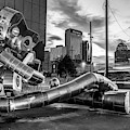 Dallas Skyline And Traveling Man Waiting On A Train - Monochrome Edition by Gregory Ballos