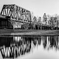 Dallas Skyline And Trinity River Panorama - Monochrome by Gregory Ballos