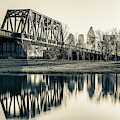 Dallas Skyline And Trinity River Panorama - Sepia by Gregory Ballos