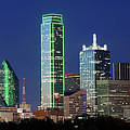 Dallas Skyline Orange Pano 040519 by Rospotte Photography