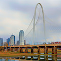 Dallas Skyline With The Margaret Hunt Hill Bridge - Texas - Cityscape by Jason Politte