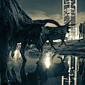 Dallas Texas Longhorn Cattle Drive Sculptures And Skyline Reflections - Sepia by Gregory Ballos