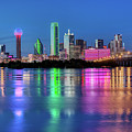 Dallas Texas Reflection Blue Skyline040519 by Rospotte Photography