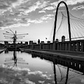Dallas Texas Skyline And Margaret Hunt Bridge - 1x1 Black And White by Gregory Ballos