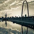 Dallas Texas Skyline And Margaret Hunt Bridge - 1x1 Sepia by Gregory Ballos