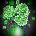 Dark And Delicious Roses  In Green by Angela Whitehouse