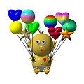 Dark Skinned Bouncing Baby Boy With 10 Balloons by Rose Santuci-Sofranko