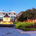 Dawn Panorama Of Pineapple Fountain And City Gallery At Charleston Waterfront Park -  by Silvio Ligutti