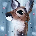 Deer In The Evening Snow by Dawn Derman
