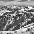 Deer Valley Bald Mountain Snowy Views Black And White by Adam Jewell