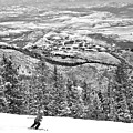 Deer Valley Skier Black And White by Adam Jewell