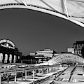 Denver Union Train Station Panoramic Monochrome by Gregory Ballos