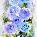 Dew Fresh Blue Roses by Asha Sudhaker Shenoy