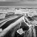 Diamond Beach Iceland IIi Bw by Joan Carroll