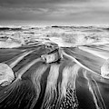 Diamond Beach Iceland V Bw by Joan Carroll