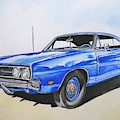 1969 Dodge Charger 500 In Blue Color by Christopher Shellhammer