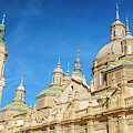 Domes And Towers Zaragoza Spain Cathedral by Joan Carroll