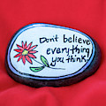 Don't Believe Everything You Think Painted Rock by Laura Smith