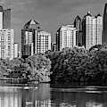 Downtown Atlanta Panoramic Monochrome From Piedmont Park by Gregory Ballos