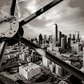 Downtown Dallas Texas Skyline Through Reunion Tower - Sepia Edition by Gregory Ballos