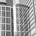 Downtown Houston Black And White Skyscraper Reflections by Dan Sproul