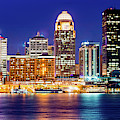 Downtown Louisville Kentucky Skyline Panorama At Dusk by Gregory Ballos