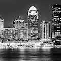 Downtown Louisville Kentucky Skyline Panorama At Dusk - Monochrome by Gregory Ballos