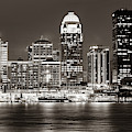 Downtown Louisville Kentucky Skyline Panorama At Dusk - Sepia by Gregory Ballos