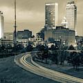 Downtown Tulsa Skyline - Sepia Cityscape by Gregory Ballos