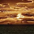 Dramatic Atlantic Sunrise With Ghost Freighter In Goldtone by Bill Swartwout Photography