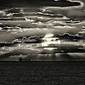 Dramatic Atlantic Sunrise With Ghost Freighter In Monochrome by Bill Swartwout Fine Art Photography