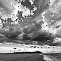Dramatic Clouds Over Crane Beach Ipswich Ma Black And White by Toby McGuire
