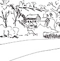 Drawing Of Buildings Among Trees Under A Hill In Devon by Mike Jory