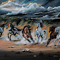 Dream Horse Series 125 - Flat Bottom River Wild Horse Herd by Cheryl Poland