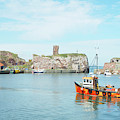 Dunbar Castle Ruins, Harbour And Fishing Boats by Victor Lord Denovan