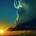 Dying Nebraska Thunderstorms At Sunset 068 by NebraskaSC