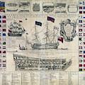 Early 18th Century British Man Of War Ship Diagram by Daniel Hagerman