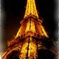 Eiffel Tower Night Paris France Watercolor by Edward Fielding