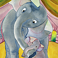 Elephants By Erik Slutsky, Watercolor by Superstock