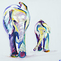 Elephants Side By Side by Nickie Perrin Paintings