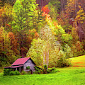 Embraced In Autumn Color Painting by Debra and Dave Vanderlaan